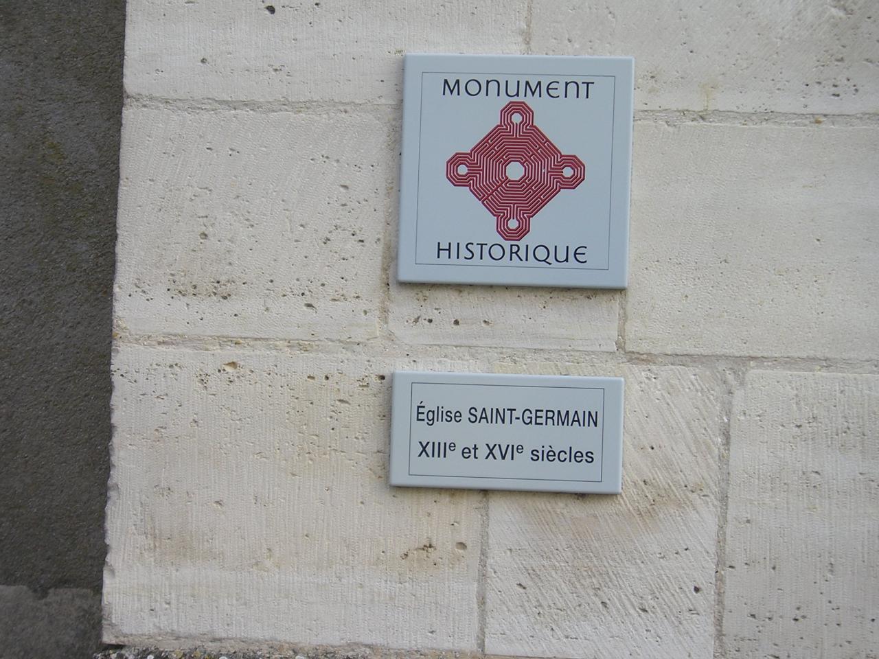Nogent l'Artaud (Aisne) Plaque église en 2004