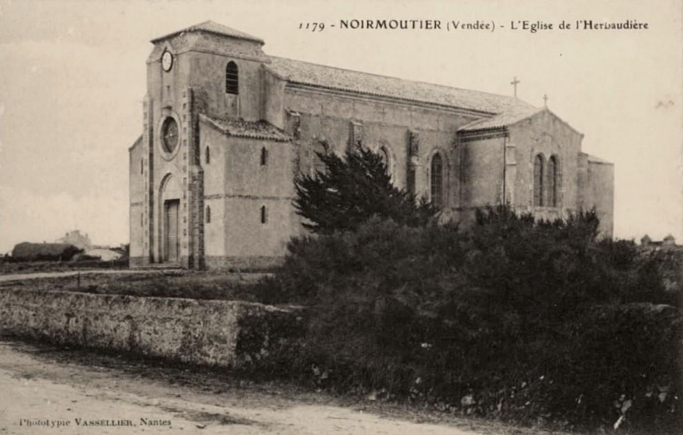 Noirmoutier-en-l'île (Vendée) L'Herbaudière, l'église du Sacré-Coeur CPA