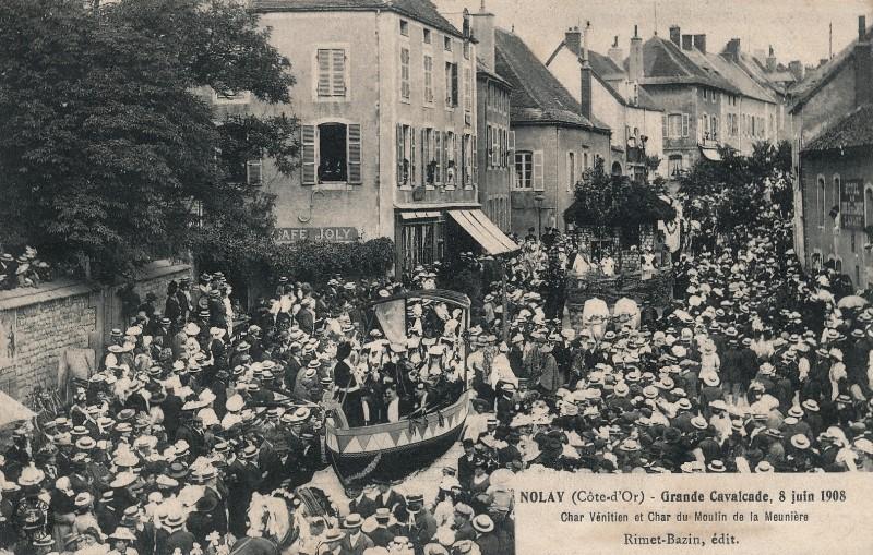 Nolay (Côte d'Or) La grande cavalcade de 1908 CPA