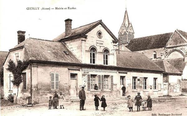Oeuilly (Aisne) CPA mairie, école, église Saint Rémi