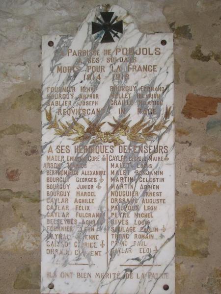 Poujols (Hérault) Plaque Bourguy sur monument aux morts