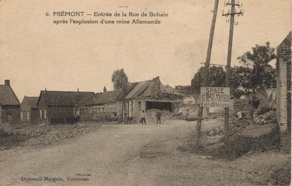 Prémont (Aisne) CPA Rue de Bohain (1914-18)