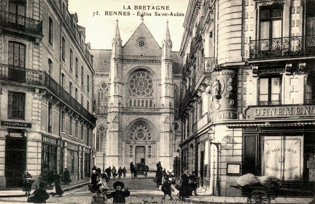 Rennes (Ille-et-Vilaine) L'église Saint-Aubin CPA