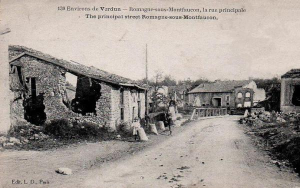 Romagne-sous-Montfaucon (Meuse) 1914-1918 ruines rue principale CPA