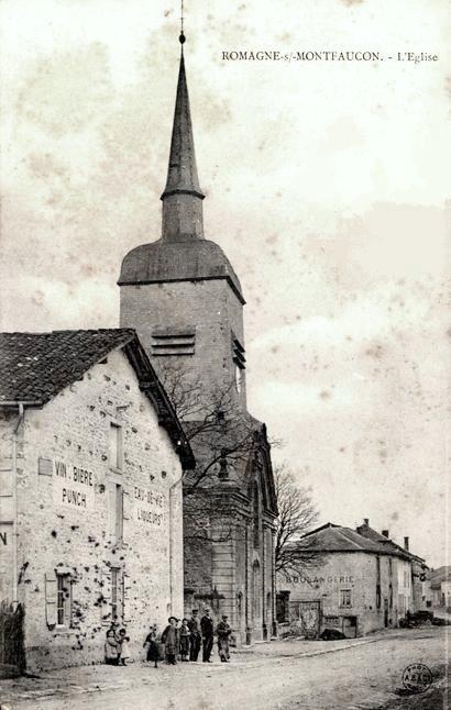 Romagne-sous-Montfaucon (Meuse) L'église Saint Michel en 1905