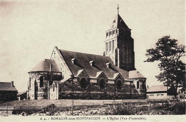 Romagne-sous-Montfaucon (Meuse) L'église après 1925 CPA