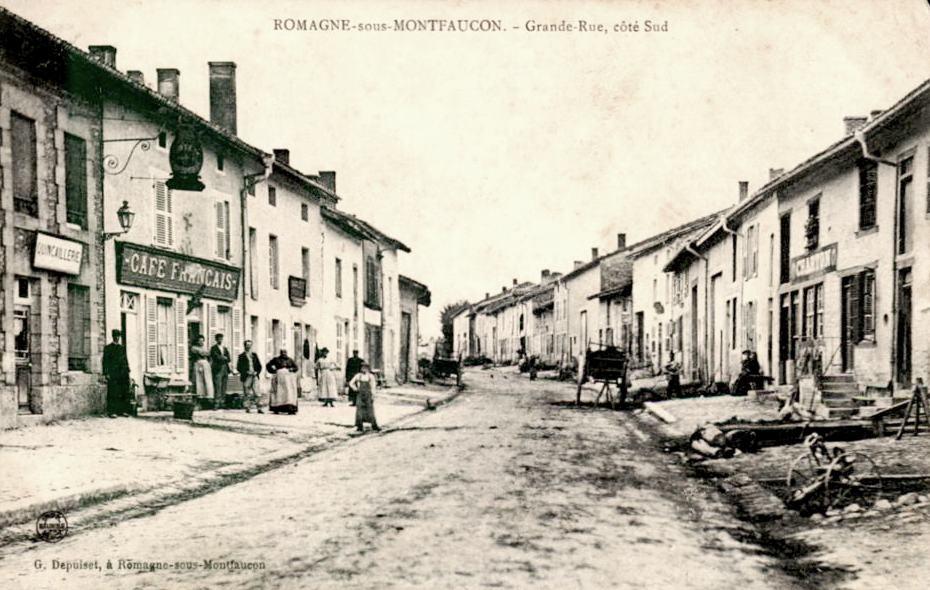 Romagne-sous-Montfaucon (Meuse)  La rue principale, Hôtel Français CPA