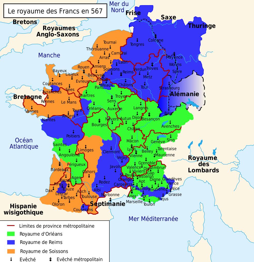 Le Royaume des Francs en 567