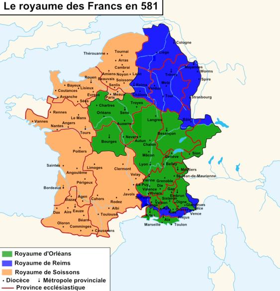 Le Royaume des Francs en 581
