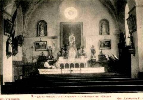 Saint-Beaulize (Aveyron) CPA Intérieur de l'église