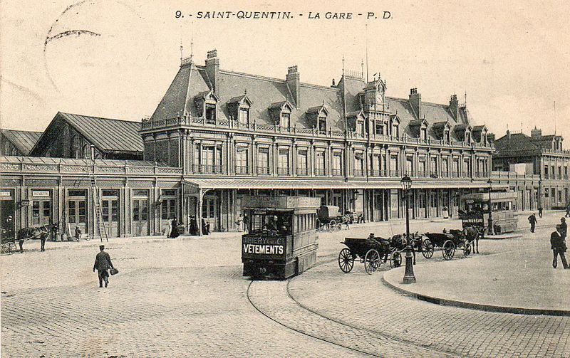 Saint-Quentin (Aisne) CPA  la gare tramway en 1906