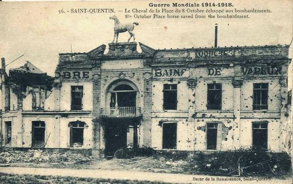 Saint-Quentin (Aisne) CPA 1914, la place du 8 octobre