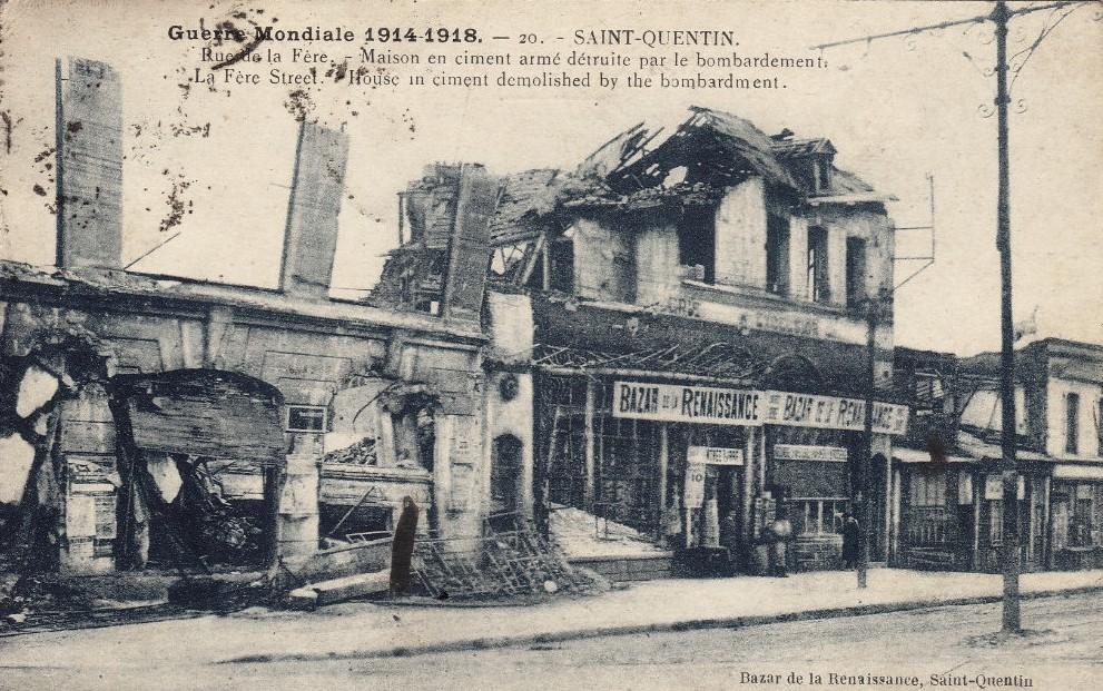 Saint-Quentin (Aisne) CPA 1914, la rue de La Fère
