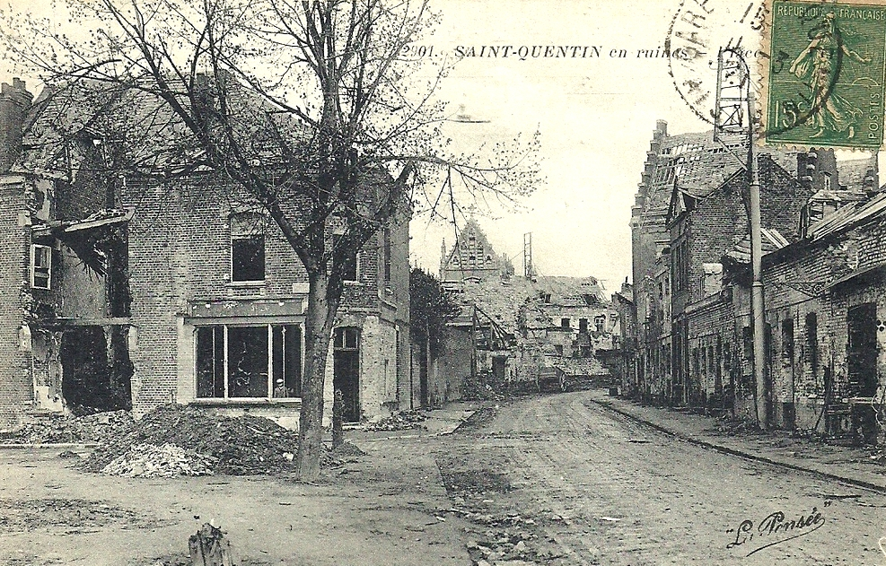 Saint-Quentin (Aisne) CPA ruines 1914