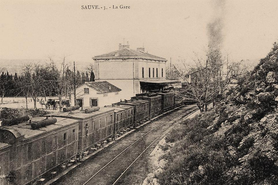 Sauve (Gard) CPA La gare