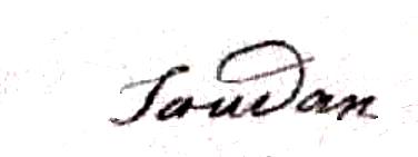 Soudan Antoine Prudent (1822/1881), sa signature en 1850