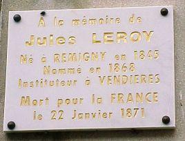 Vendières (Aisne) Plaque à la mémoire de Jules Leroy