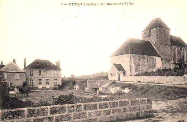 Viffort (Aisne) CPA L'église et la mairie