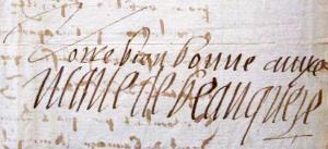 Autographe marie de beaucaire 1595