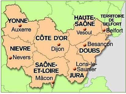 Carte 8 departements de la region