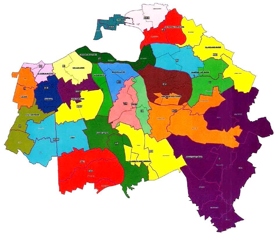 Carte des nouveaux cantons du val de marne