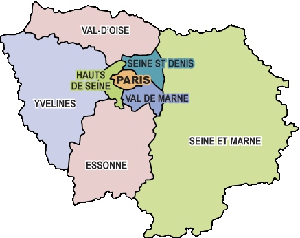 Carte ile de france et depts