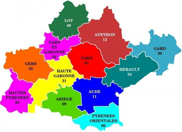 Carte occitanie et depts