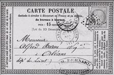 Carte postale de 1873 a 15 cts