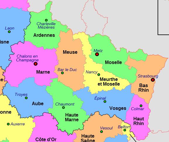 Carte region grand est et departements