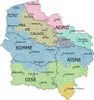 Carte region hauts de france avec departements