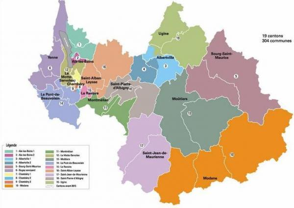 Dept savoie cantons et arrondissements