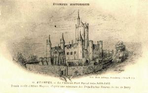 Etampes essone le chateau feodal gravure