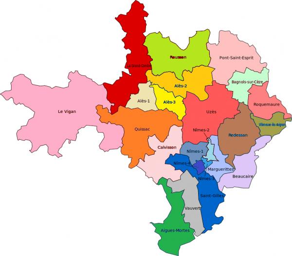 Gard carte cantons 2015