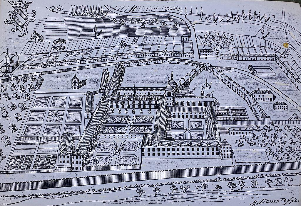 Juvigny sur loison 55 plan de l abbaye au xviiieme siecle