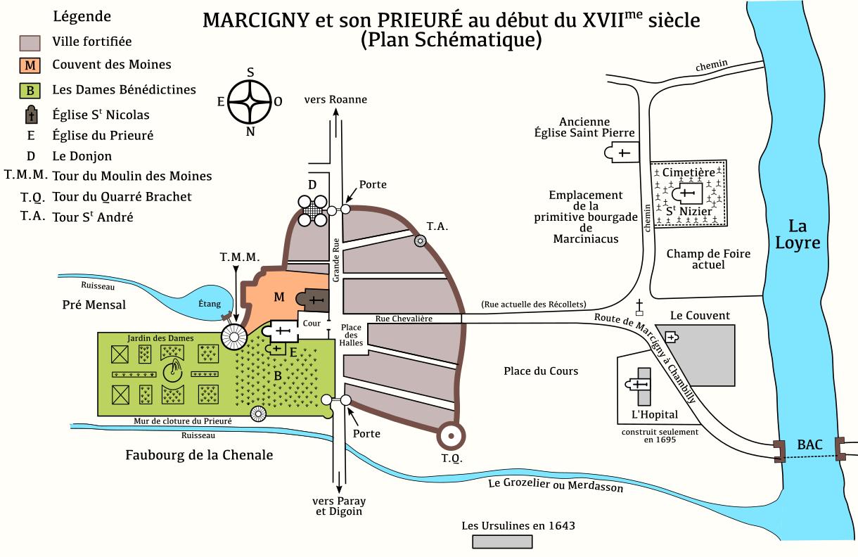 Marcigny 71 plan du pieure au xviieme siecle
