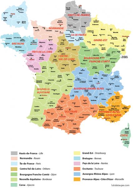 Carte des nouvelles régions françaises (2016)
