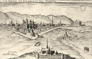 Noyon oise cpa abbaye de benedictins saint loup gravure