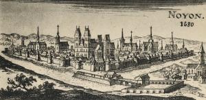 Noyon oise cpa gravure 1680