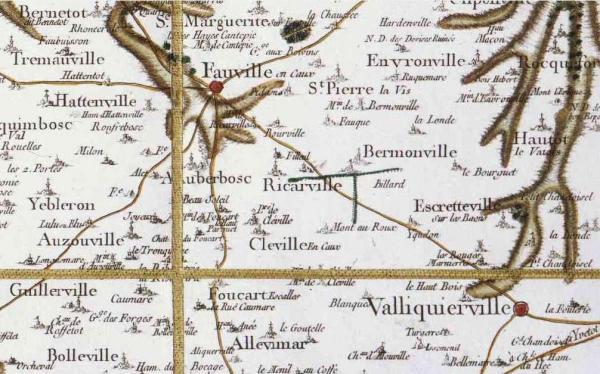 Ricarville seine maritime carte cassini