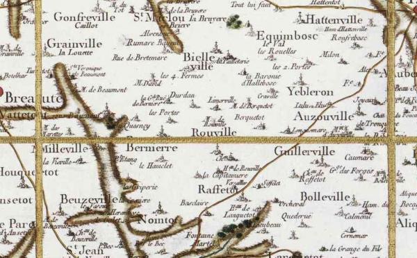 Rouville seine maritime carte cassini