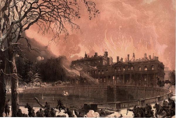Saint cloud hauts de seine le chateau en flammes cpa