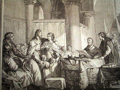Carloman abdication en 746, gravure du XVIIIe