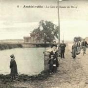 Amblainville oise cpa gare et route de meru