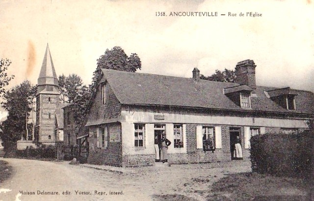 Ancourteville seine maritime eglise mairie et epicerie cpa