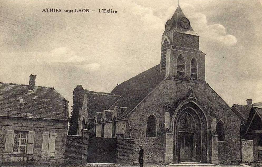 Athies-sous-Laon (Aisne) CPA église Saint Quentin