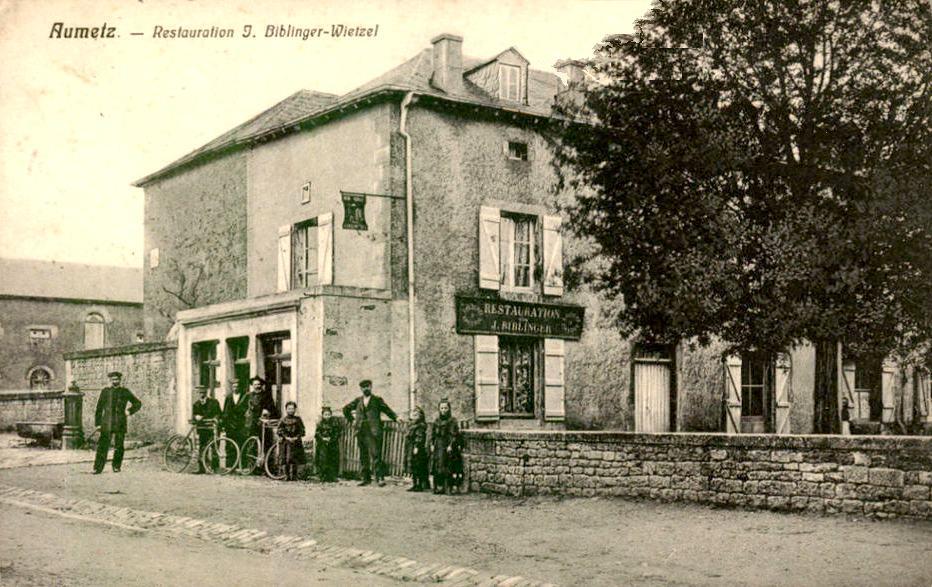 Aumetz (Moselle) Le restaurant Biblinger CPA