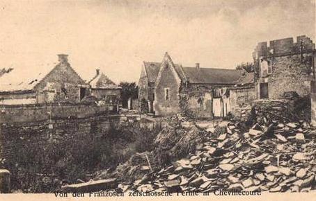 Autreches oise cpa 14 18 chevillecourt ferme en ruines