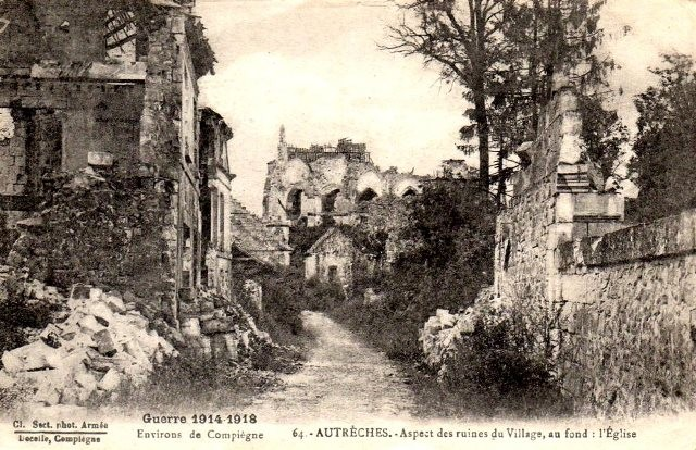 Autreches oise cpa 14 18 ruines