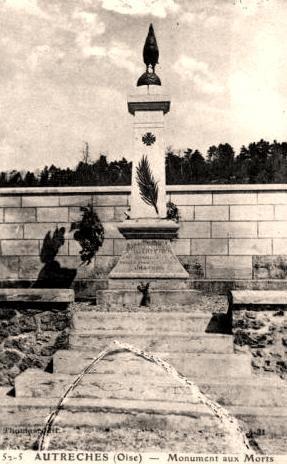 Autreches oise cpa monument aux morts