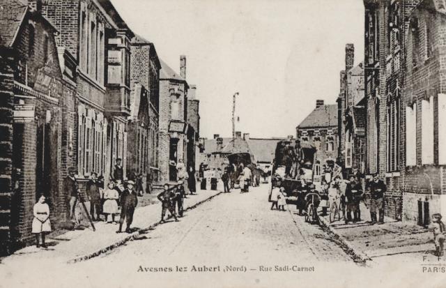 Avesnes les aubert 59 la rue sadi carnot cpa